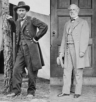 Battle of Cold Harbor - Opposing commanders: Lt. Gen. Ulysses S. Grant, USA, at Cold Harbor, photographed by Edgar Guy Fawx in 1864; Gen. Robert E. Lee, CSA, photographed by Mathew Brady in 1865