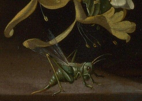 Grasshopper detail in Rachel Ruysch Flowers in a Vase c 1685