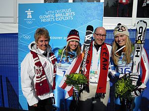 Nancy Greene - Nancy Greene (left) at the 2010 Winter Olympic Games.