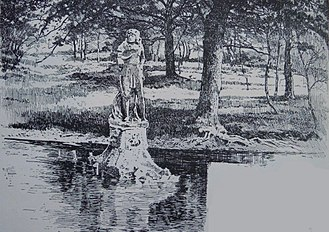 Statue of Charles II, Soho Square - Print of the statue in the lake at Grim's Dyke, 1891