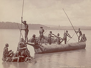 Andamanese - Group of Andamanese hunting turtles with bows and arrows