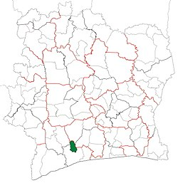 Location in Ivory Coast. Guéyo Department has retained the same boundaries since its creation in 2008.