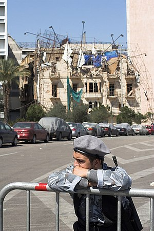 Lebanon bombings and assassinations (2004–present) - Ministry of the Interior soldier guarding the site of the attack that killed former Prime Minister Hariri