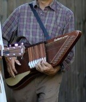 Guitaro - The Guitaro design allows use of a shoulder strap, much like a guitar.  Note that finger picks are used by this player.