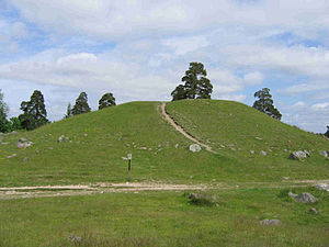 """Björn at Haugi - King Björn's barrow in Håga (the Old Norse  word haugr meaning hill, knoll, or mound) near Uppsala. The Nordic Bronze Age barrow gave its name to the location Håga (""""the barrow"""") and is probably the source of the cognomen of the king, at Haugi (""""at the barrow""""). As a result, the mound was in the 17th-18th century erroneously named after the king."""