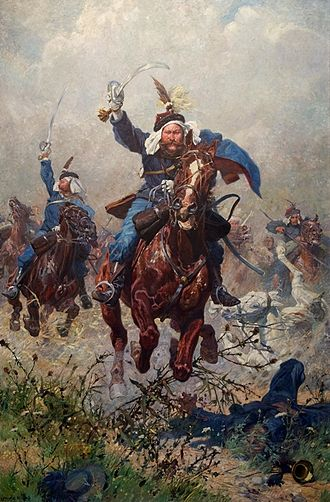 Imperial and Royal Uhlans - Colonel Maximilian Ritter von Rodakowski and the 13th Uhlans in the Battle of Custoza. (1908 painting by Ludwig Koch. Oil on linen, Army History Museum, Vienna)