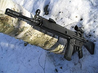 Heckler & Koch HK33 - The HK33 SG1 with a Trijicon ACOG optical sight.