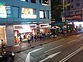 HK Wan Chai 軒尼詩道 Hennessy Road night W-Square shop restaurant queue outside July 2018 SSG 02.jpg