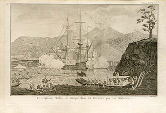 European and American voyages of scientific exploration - HMS Dolphin at Tahiti in 1767