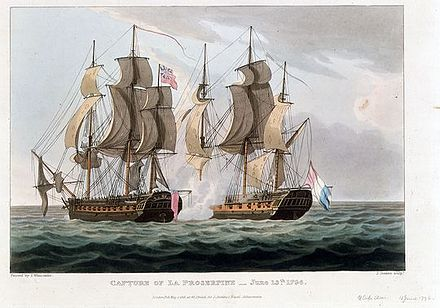 Capture of La Proserpine - 13 June 1795, painted by Thomas Whitcombe, engraved by J Jeakes, 1 May 1816, in the collection of the National Maritime Museum HMS Dryad vs Proserpine.jpg