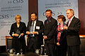 HRNK Co-Chair Roberta Cohen and Executive Director Greg Scarlatoiu present UN COI Commissioners (L to R) Sonja Biserko, Marzuki Darusman, and Michael Kirby with HRNK's first Human Rights Award.jpg
