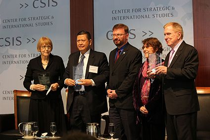 Sonja Biserko, Marzuki Darusman, and Michael Kirby were commissioners of the 2014 UN Commission of Inquiry on human rights in the Democratic People's Republic of Korea that found crimes against humanity have been and are currently being committed pursuant to the highest levels of the North Korean state. The image shows U.S. Committee for Human Rights in North Korea Co-Chair Roberta Cohen and Executive Director Greg Scarlatoiu present UN COI Commissioners (L to R) Sonja Biserko, Marzuki Darusman, and Michael Kirby with HRNK's first Human Rights Award