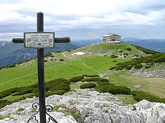 Rax - Habsburghaus (the cross marks the site where the former tenant died of hypothermia during a winter storm on February 8, 1919)
