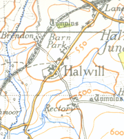 A map of Halwill from 1946