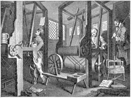 Handloom weaving in 1747, from William Hogarth's Industry and Idleness Hand-loom weaving.jpg