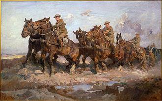 Postilion - ANZAC postilions struggle to move a gun, Passchendaele, 1917