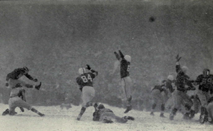 Snow Bowl (1950) - Harry Allis kicks the extra point after the game's only touchdown