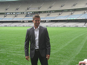 Harry Kewell - Harry Kewell being unveiled as Melbourne Victory's new signing in 2011.