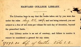Harvard Library - Image: Harvard College Library Overdue Notice 1884