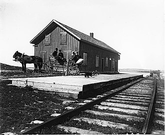 Cobourg and Peterborough Railway - Harwood Station and the causeway to Tic Island, some time after the closure of the Rice Lake crossing.