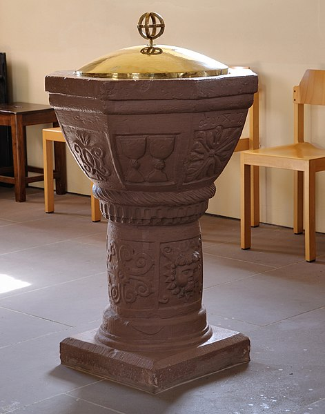 A baptismal font at a Lutheran church in Germany