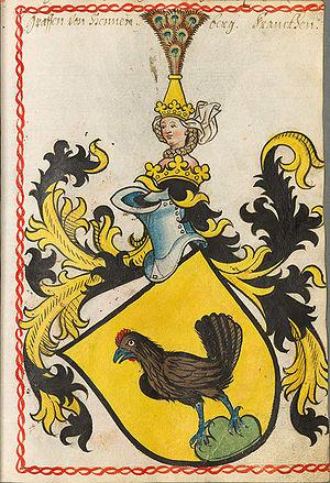 Berthold von Henneberg - Coat of arms of the Counts of Henneberg, Scheiblersches Wappenbuch, 1450-1480