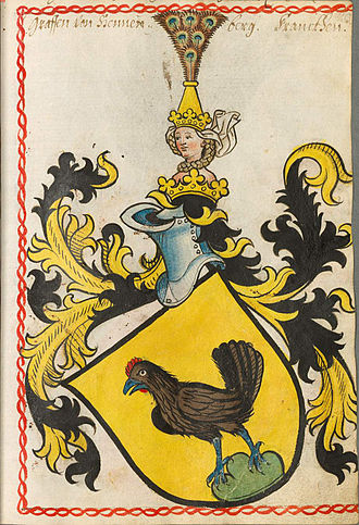 Berthold von Henneberg - Coat of arms of the Counts of Henneberg, Scheiblersches Wappenbuch, 1450-1480