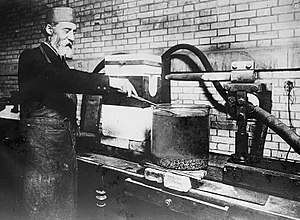 Henri Moissan - Moissan trying to create synthetic diamonds using an electric arc furnace