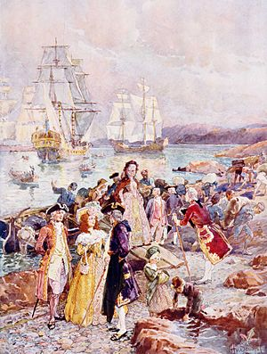New Brunswick - The Coming of the Loyalists, painting by Henry Sandham, showing a romanticised view of the Loyalists' arrival in New Brunswick