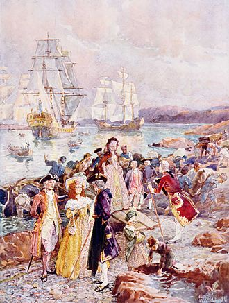 United Empire Loyalist - The Coming of the Loyalists, painting by Henry Sandham showing a romanticised view of the Loyalists' arrival in New Brunswick.