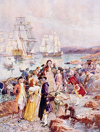 Loyalists landing in New Brunswick. Loyalists settlers to the Canadas were Revolution-era exiles, hostile to union with the U.S., whereas newer immigrants to the Canadas were neutral or supportive of the British. Henry Sandham - The Coming of the Loyalists.jpg