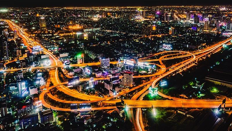 Highway interchange at night (35517755855) (cropped).jpg