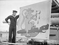 Hnms Potentilla, a Norwegian Corvette Escorting Convoys Across the Atlantic Has An Emblem Painted on the Gunshield Showing the Norwegian Lion Destroying a U-boat. Liverpool, 28 October 1942. A12511.jpg