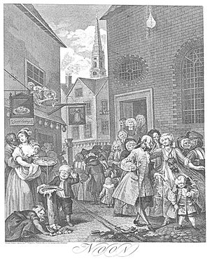 "St Giles, London - Hogarth's ""Noon"" from ""Four Times of Day"", showing St Giles church in the background"