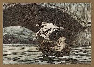 Peter Pan in Kensington Gardens - Illustration by Arthur Rackham of Peter in a bird's nest, floating under the bridge