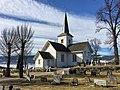 Hov Kirke Church (1781), Søndre Land Municipality, Oppland County, Norway. Springtime, cemetery, graveyard, Randsfjorden lake, etc. 2017-03-27 IMG 2085.jpg
