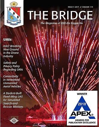Eta Kappa Nu - THE BRIDGE Magazine 113(3), 2017. This cover with an image of Intel's UAV light-display show won a 2018 APEX Award.