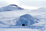 Big igloo in front of Kinngait in southern region of Baffin Island.