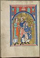 Images from the life of Christ - The three Wise Men from the adoration of the Christ-child by the Magi - Psalter of Eleanor of Aquitaine (ca. 1185) - KB 76 F 13, folium 017v.jpg