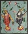 India, Calcutta, Kalighat painting, 19th century - Lakshmi and Sarasvati - 2003.121 - Cleveland Museum of Art.tif