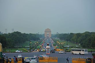 Rajpath - View of Raj Path, from Raisina Hill, with India Gate at its end