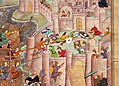 India del nord, periodo mogul, la presa di baghdad da parte di hulagu kahn, da un manoscritto di jami' al tawarikh, 1596, 02.jpg