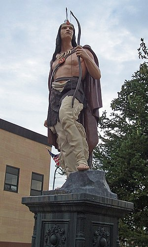 "Ishpeming, Michigan - Statue of ""Old Ish"" in downtown Ishpeming"