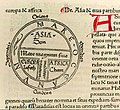 Isidore of Seville - Etymologiae 14.3 De Asia - T-world map of Asia, Europa, Africa.jpg