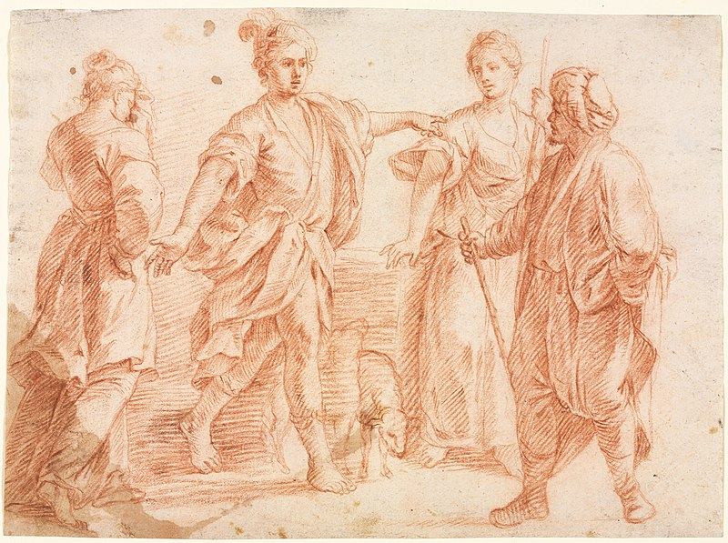 File:Italy, Bologna, 17th century - Jacob and Laban with Rachel and Leah (recto) Sketch of Two Men and Other Va - 1939.666 - Cleveland Museum of Art.jpg