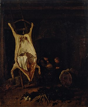 Jacob Leyssens -  Carcass in a Kitchen, early 1690s