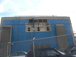 BMT Jamaica Line - Power substation at 144th Place adjacent to a former section of the elevated tracks.
