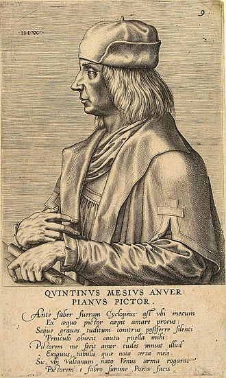 Quentin Matsys - Engraving by Jan Wierix with Dominicus Lampsonius poem indicating that the girl he courted preferred the quiet paintbrush to the heavy noise of hammering