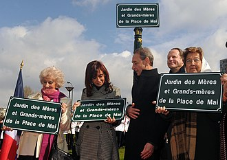 Argentina–France relations - Inauguration of the Garden of Mothers and Grandmothers of the Plaza de Mayo in Paris.