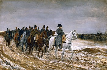 Painting shows a frowning Napoleon leading his generals and staff, all on horseback, along a muddy road. In the background the infantry march under gray skies.